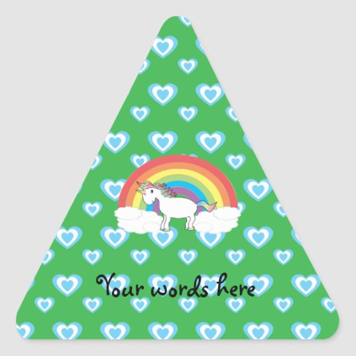 Rainbow unicorn with blue hearts on green triangle stickers