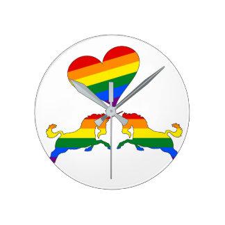 Rainbow Unicorns Round Clock