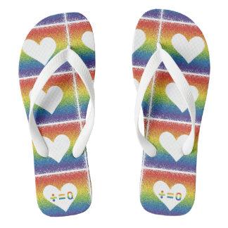 Rainbow Unity Heart Flip Flops