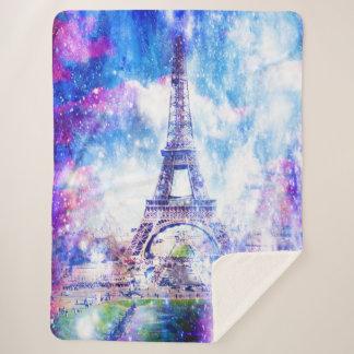 Rainbow Universe Paris Sherpa Blanket