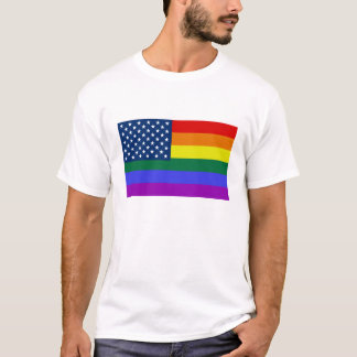 Rainbow USA Flag men's shirt
