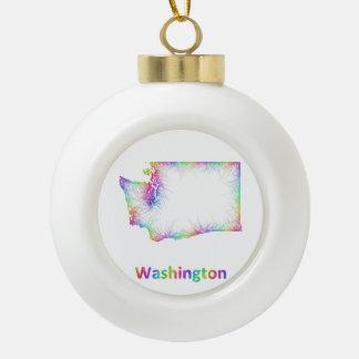 Rainbow Washington map Ceramic Ball Ornament