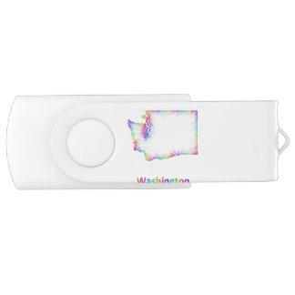 Rainbow Washington map Swivel USB 3.0 Flash Drive