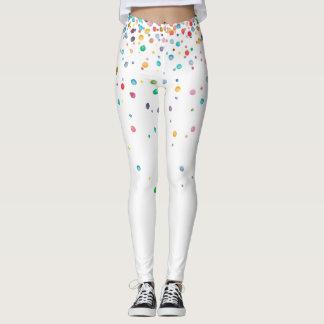 Rainbow Watercolor Confetti Dots Leggings