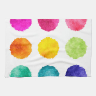 Rainbow watercolor dots kitchen towel