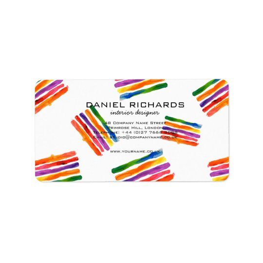 Rainbow watercolor Interior Designer Business Card Label