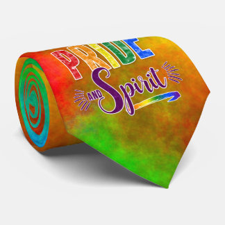 Rainbow Watercolor on 2-Sides with Pride & Spirit Tie