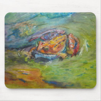 Rainbow Watercolor Painted Happy Frog Mouse Pad