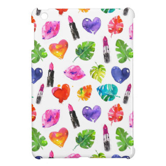 Rainbow watercolor palm leaves pin kiss lipsticks cover for the iPad mini