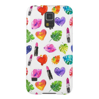 Rainbow watercolor palm leaves pin kiss lipsticks galaxy s5 cover