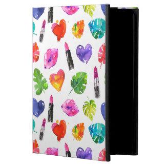 Rainbow watercolor palm leaves pin kiss lipsticks iPad air cover