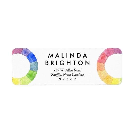 Rainbow watercolor ring modern colourful circle