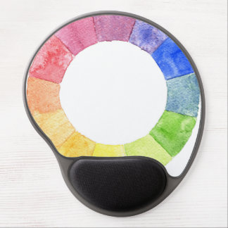 Rainbow watercolor ring modern colourful circle gel mouse pad