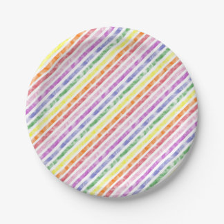 Rainbow Watercolor Stripe Pattern Paper Plate