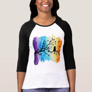 Rainbow Watercolors Black Cat on Tree Branch T-Shirt