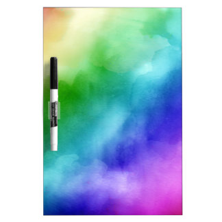 Rainbow Watercolors Dry Erase White Board