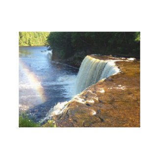 Rainbow Waterfall Photo Canvas Art Print (Michigan