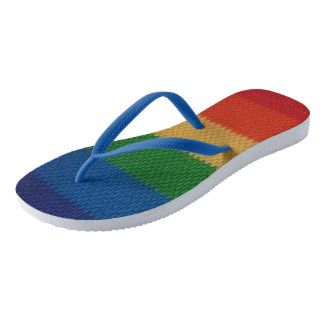 Rainbow Weaved Stripes Flip Flops