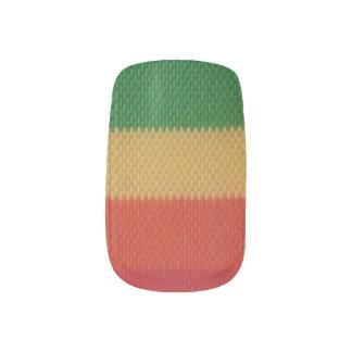 Rainbow Weaved Stripes Minx Nail Art
