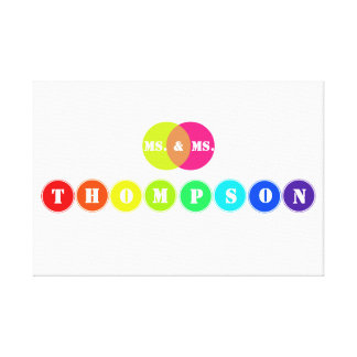 Rainbow Wedding Board for 8 Letter Family Name Canvas Print