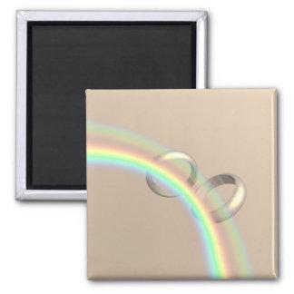 Rainbow Wedding Rings Magnets