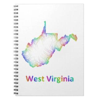 Rainbow West Virginia map Note Books
