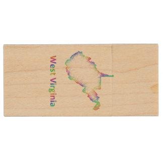 Rainbow West Virginia map Wood USB 2.0 Flash Drive