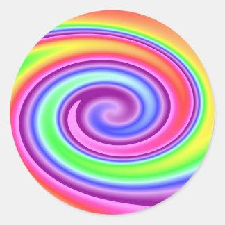 Rainbow Whirl Classic Round Sticker