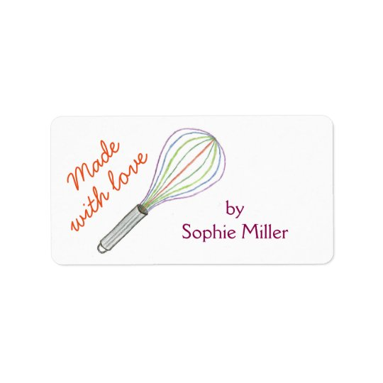Rainbow whisk personalized food gift labels