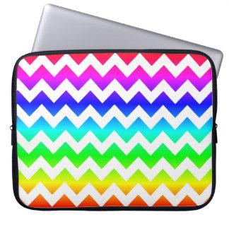 Rainbow White Chevron Laptop Sleeve