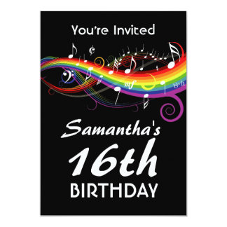 "Rainbow White Music Notes 16th Birthday Party 5"" X 7"" Invitation Card"