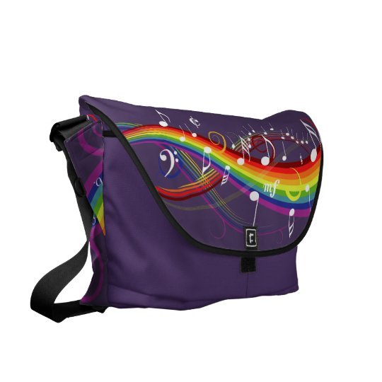 Rainbow White Music Notes Amethyst  Messenger Bag