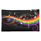 Rainbow White Music Notes on Black Makeup Bag