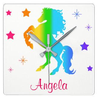 Rainbow Wild Horse Star Girl Multicolor Silhouette Wallclock
