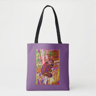 Rainbow Window Kitty Tote Bag