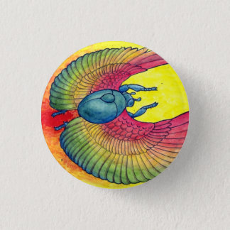 Rainbow Winged Scarab 1 Inch Round Button