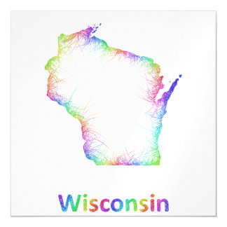 Rainbow Wisconsin map Magnetic Invitations
