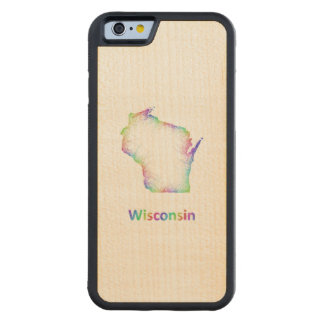 Rainbow Wisconsin map Maple iPhone 6 Bumper Case