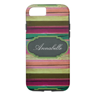 Rainbow Wood Chalkboard Personalized iPhone 7 Case