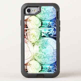 Rainbow World Map Atlas Design OtterBox Defender iPhone 8/7 Case