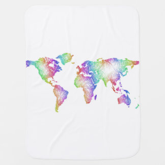 Rainbow World map Baby Blanket