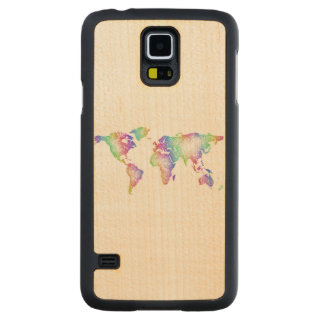 Rainbow World map Carved Maple Galaxy S5 Case