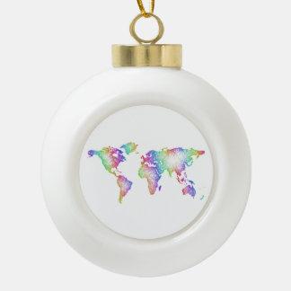 Rainbow World map Ceramic Ball Ornament
