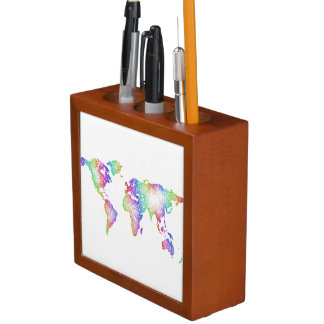 Rainbow World map Desk Organizer