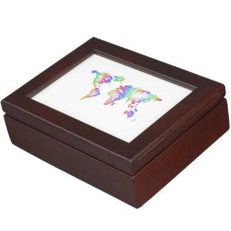 Rainbow World map Keepsake Boxes
