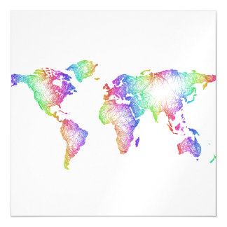 Rainbow World map Magnetic Card