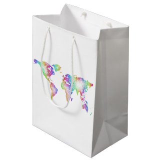 Rainbow World map Medium Gift Bag
