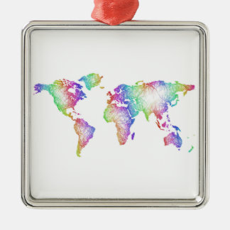 Rainbow World map Metal Ornament