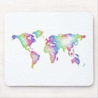 Rainbow World map Mouse Pad