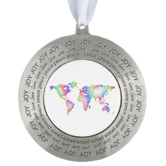 Rainbow World map Pewter Ornament